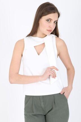 MODOMOR Kadın Dokuma Beyaz Bluz 0