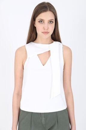 MODOMOR Kadın Dokuma Beyaz Bluz 1