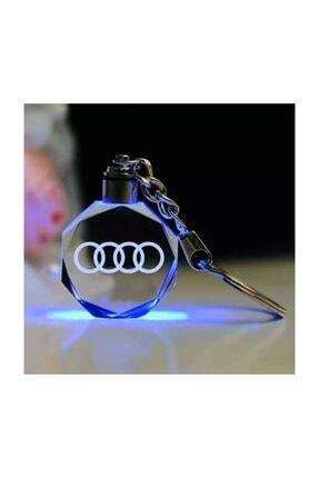 Audi Logolu Led Işıklı 3d Araba Anahtarlık Yedek Pil Hediye Audiled
