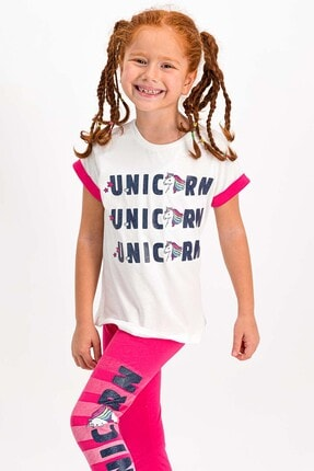 Rolypoly Unicorn Krem Kız Çocuk Tayt Takım 0