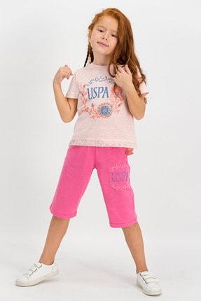 US Polo Assn Lisanslı Açık Pembe Kız Çocuk Kapri Takım 0