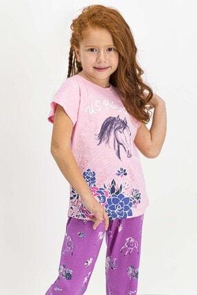 US Polo Assn U.s. Polo Assn Lisanslı Somon Kız Çocuk Pijama Takımı 1
