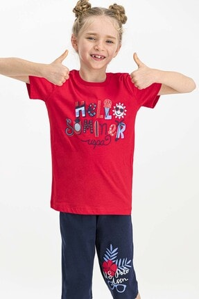 US Polo Assn Lisanslı Kırmızı Kız Çocuk Kapri Takım 1