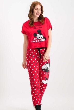 Mickey & Minnie Mouse Kadın Mickey Mouse Lisanslı Kırmızı Pijama Takımı 0