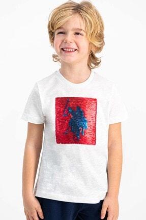 US Polo Assn Lisanslı Krem Erkek Çocuk Şort Takım 1