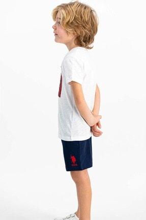 US Polo Assn Lisanslı Krem Erkek Çocuk Şort Takım 2