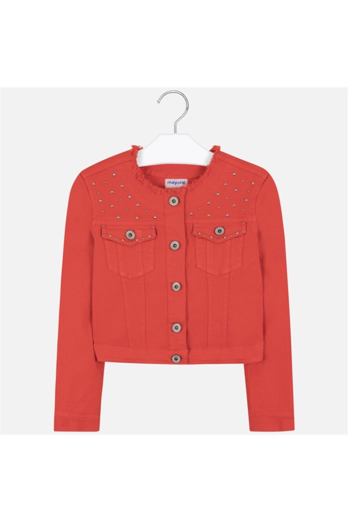 Kız Çocuk Kırmızı Denim Ceket
