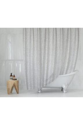 Tropik Polyester Kumaş Mermer Desen Duş Perdesi & Askı Aparatı Plastik 0
