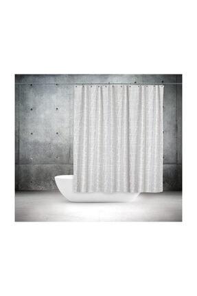Tropik Polyester Kumaş Mermer Desen Duş Perdesi & Askı Aparatı Plastik 3