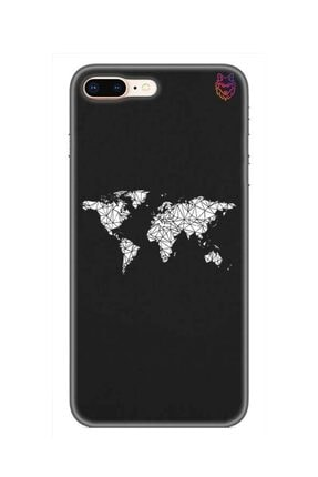 Wolf Dizayn iPhone 8 Plus Silikon Kılıf -World Map 0