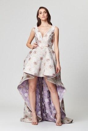 Abiye Sarayı Lila Çiçek Desenli V Yaka Kuyruklu Çan Abiye Elbise 0