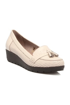 Tergan Hakiki Deri Bej-Deri Kadın Dolgu Topuklu Ayakkabı K19I1AY64203 0