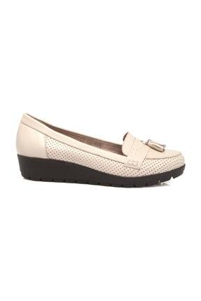 Tergan Hakiki Deri Bej-Deri Kadın Dolgu Topuklu Ayakkabı K19I1AY64203 2