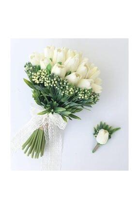 Evsay Gelin Buketi Islak Lale Gelin Eli Çiçeği Ve Damat Yaka Çiçeği 0