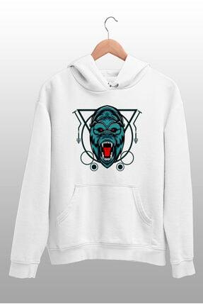 Angemiel Wear Çizgili Baskılı Goril Beyaz Kadın Kapüşonlu Sweatshirt Çanta Kombin 1