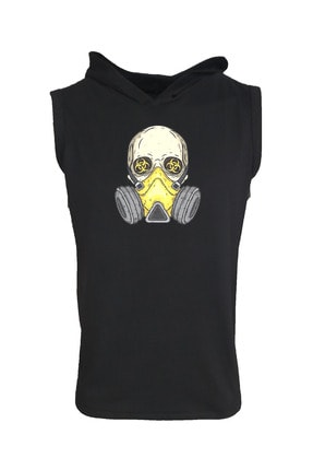 Raf Coll Baskılı Kapşonlu Kolsuz Siyah T-shirt 0