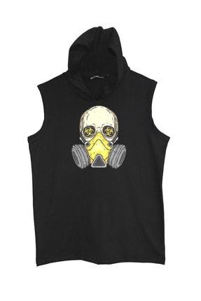 Raf Coll Baskılı Kapşonlu Kolsuz Siyah T-shirt 1