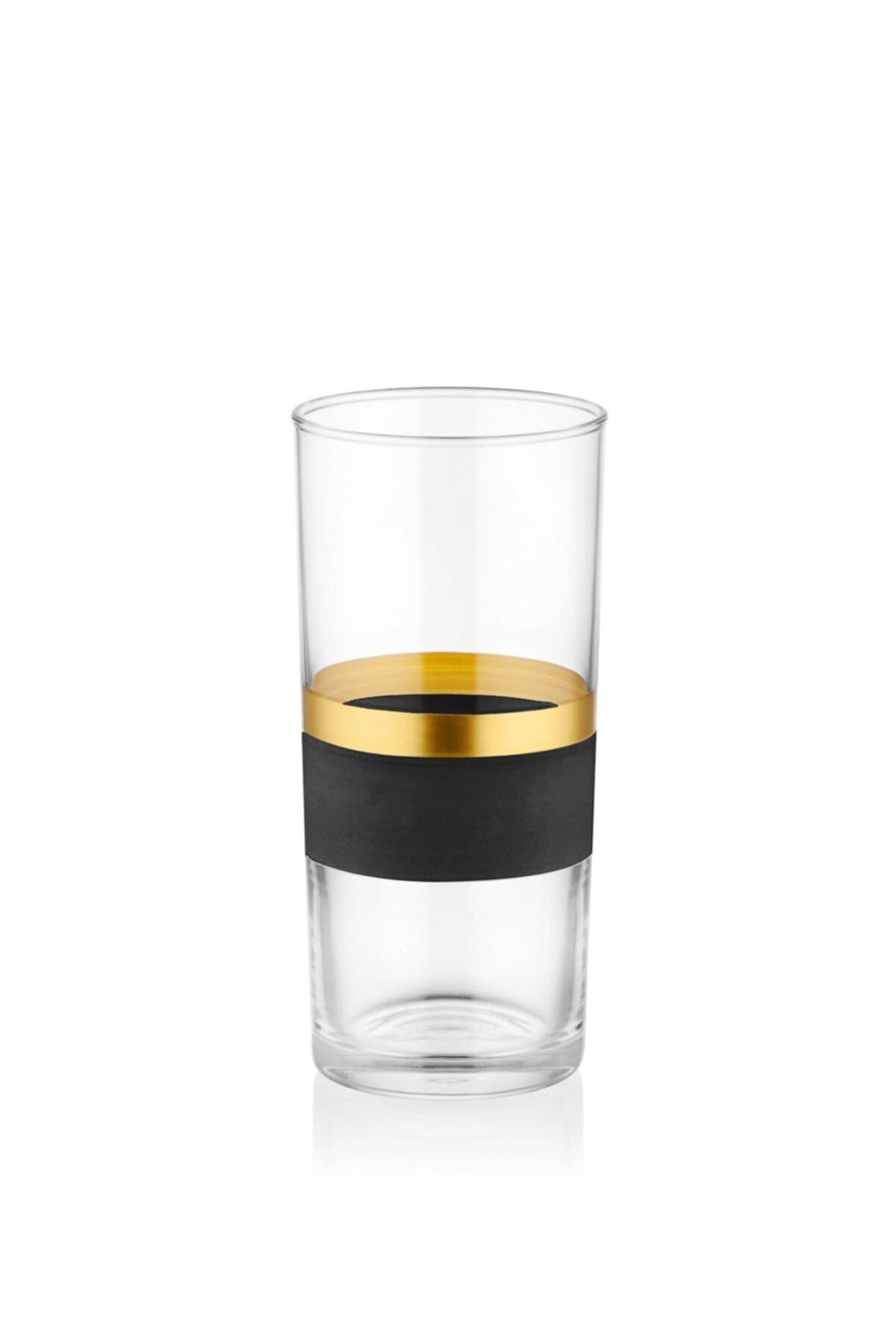 The Mia Glow Rakı Kadehi 6 Lı Set- Siyah & Gold