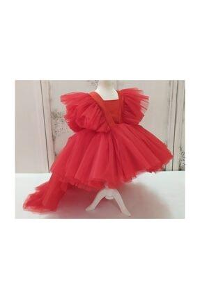 forkids tekstil ve giyim Kırmızı Önü Kısa Arka Uzun Kollar Tül Detaylı 1