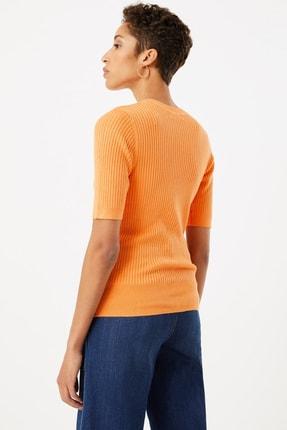 Marks & Spencer Kadın Ten Rengi Yuvarlak Yaka Kısa Kollu Kazak T38005531 1