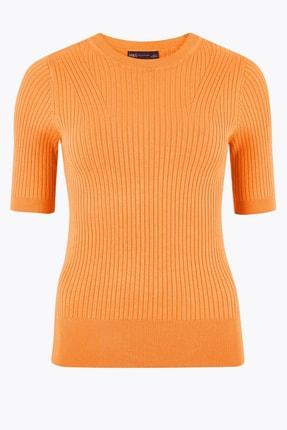 Marks & Spencer Kadın Ten Rengi Yuvarlak Yaka Kısa Kollu Kazak T38005531 2