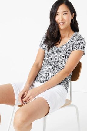 Marks & Spencer Kadın Lacivert Desenli Kısa Kollu T-Shirt T41006285 0