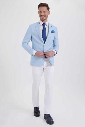 Hatemoğlu Desenli Slim Fit Mavi Ceket 14291018C091 1
