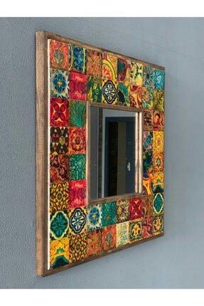Oscar Stone Decor Ahşap Çerçeveli Taş Ayna 43 X 43 cm Morocco Desen Mozaik Ayna 2