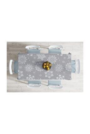 Realhomes Gri Zeminli Kar Taneleri Temalı Modern Tasarım Dekoratif Leke Tutmaz Masa Örtüsü-140x220 cm 1