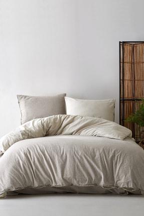 Berolige Cottage %100 Pamuklu Tek Kişilik Yıkamalı İplik Boya Çizgili Nevresim Takımı Kahverengi 1