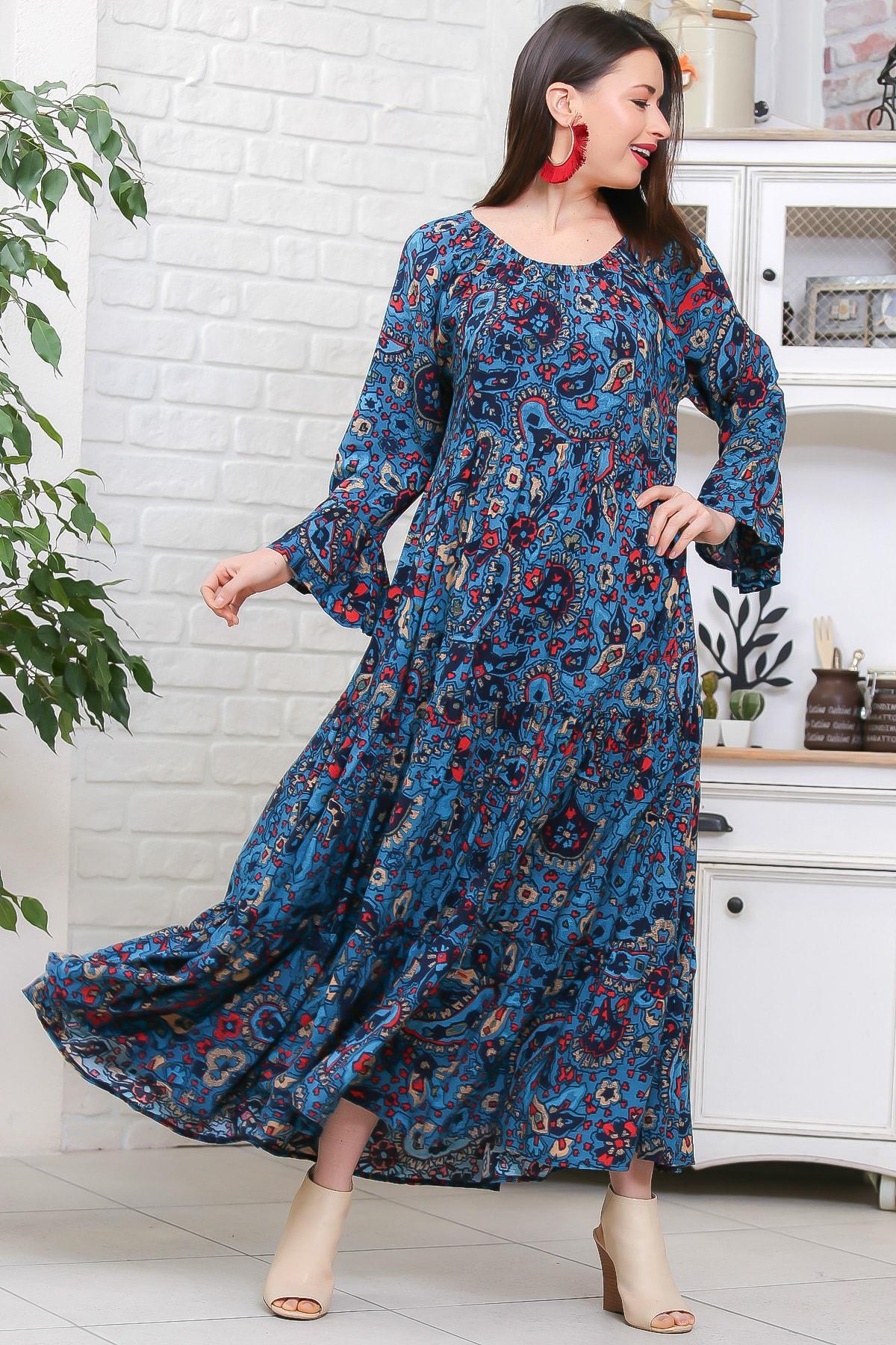 Chiccy Kadın Petrol Mavisi Bohem Çiçek Desenli Kolları Volanlı Dokuma Elbise M10160000EL96973 1