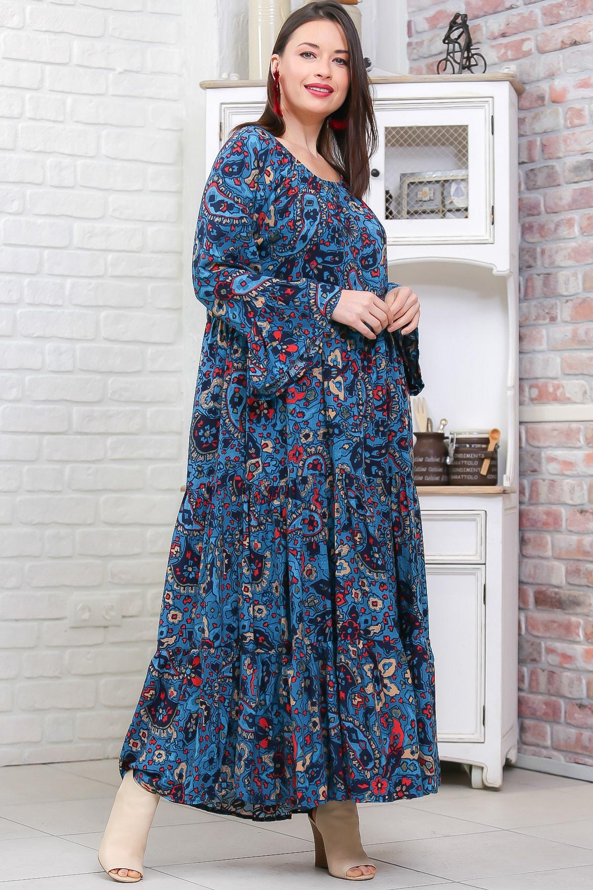Chiccy Kadın Petrol Mavisi Bohem Çiçek Desenli Kolları Volanlı Dokuma Elbise M10160000EL96973 2