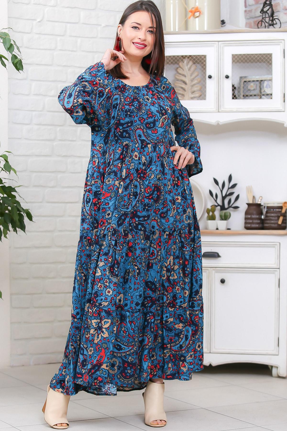 Chiccy Kadın Petrol Mavisi Bohem Çiçek Desenli Kolları Volanlı Dokuma Elbise M10160000EL96973 3