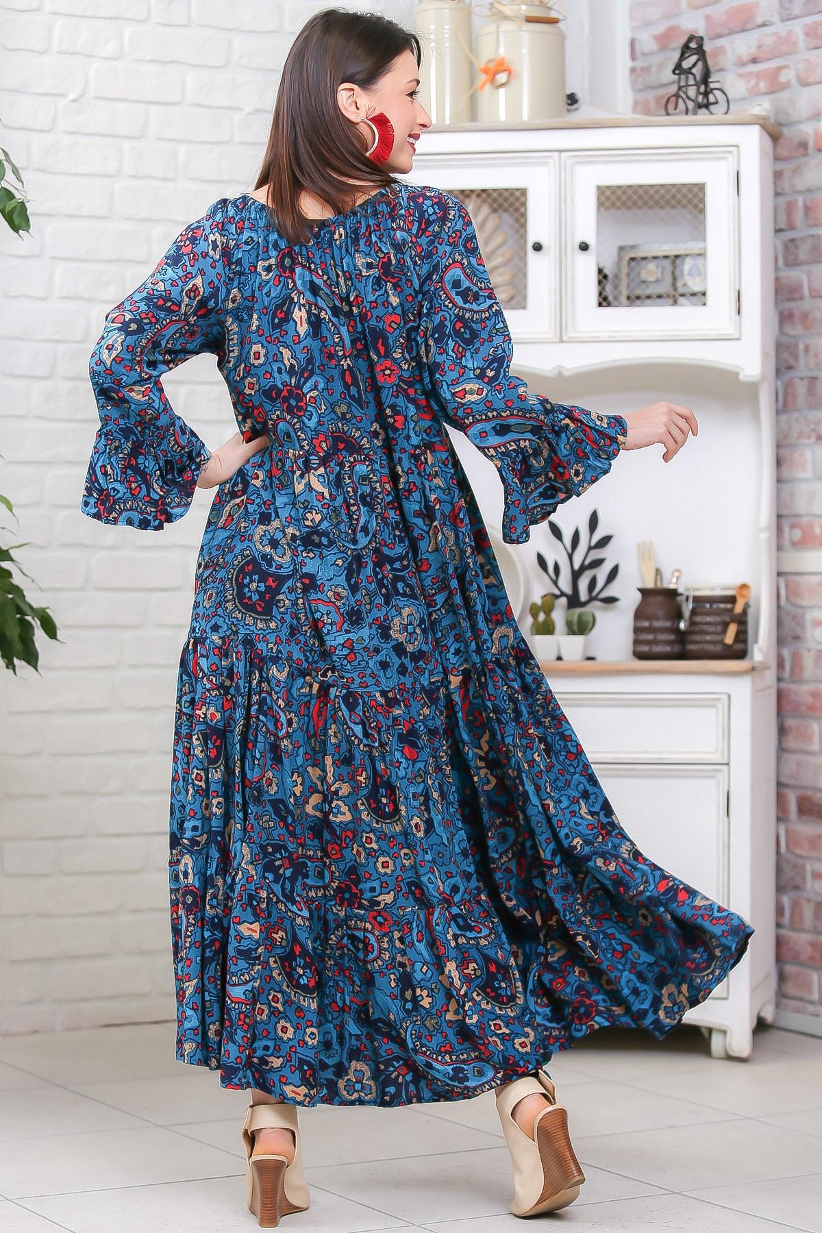 Chiccy Kadın Petrol Mavisi Bohem Çiçek Desenli Kolları Volanlı Dokuma Elbise M10160000EL96973 4