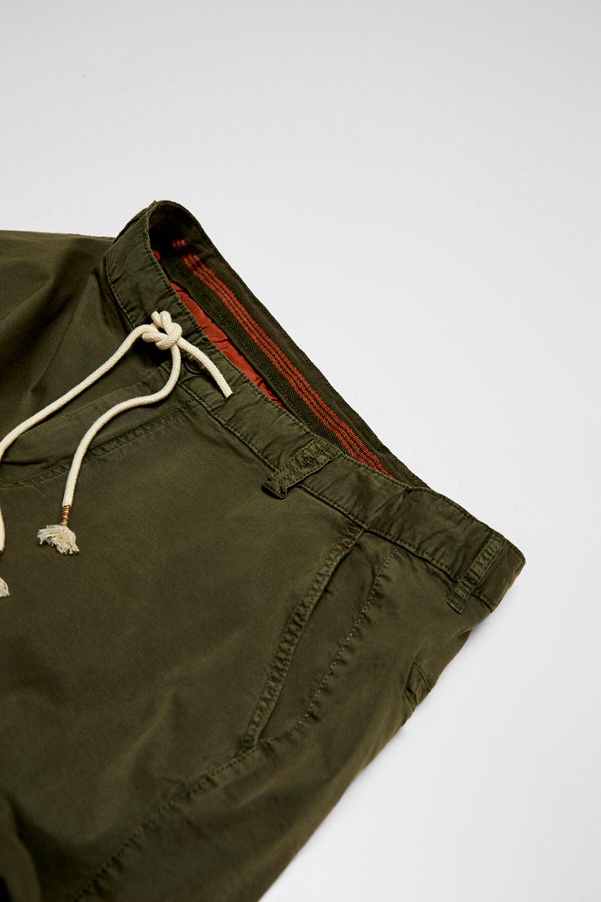 Pull & Bear Erkek Haki Kumaş boyalı basic bermuda 05690504 3