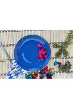 Tulü Porselen Antik Mavi Pasta Tabağı Takımı 3