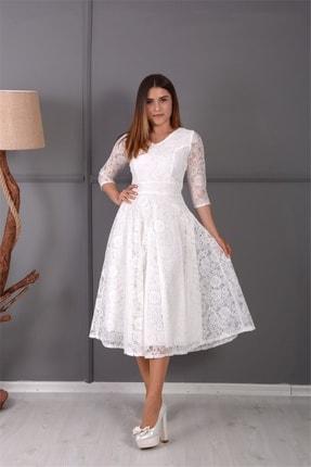 giyimmasalı Full Dantel Midi Elbise - Beyaz 3