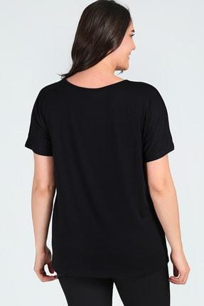 Moda Cazibe Büyük Beden Sim Detaylı Kısa Kol Bluz 3