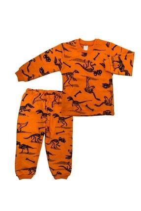 Bebişmoda Turuncu Dinozorlu 2 Li Bebek Pijama K3154 0