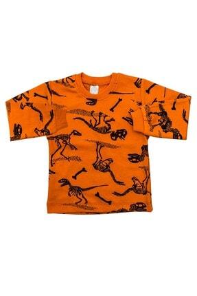 Bebişmoda Turuncu Dinozorlu 2 Li Bebek Pijama K3154 1
