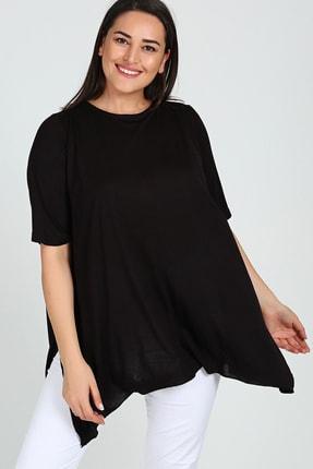 تصویر از Büyük Beden Kısa Kol Yırtmaçlı Basic Bluz