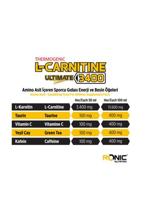 RONIC Nutrition L-Carnitine Ultimate Series 3400 Mg 30 Ampul Yağ Yakıcı +3 Adet Hediyeli 3