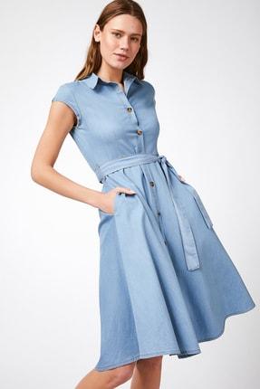 Happiness İst. Kadın Açık Mavi Kısa Kollu Kuşak Kemerli Jean Elbise  DD00605 1
