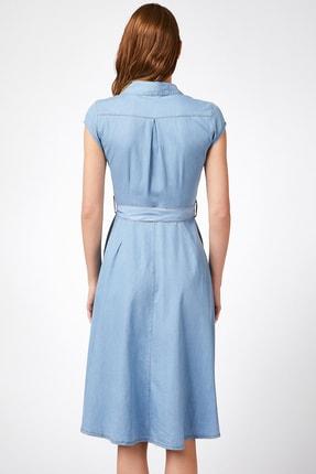 Happiness İst. Kadın Açık Mavi Kısa Kollu Kuşak Kemerli Jean Elbise  DD00605 2