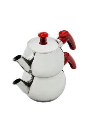 Papatyam Çelik Papatya Midi Boy Çelik Çaydanlık Takımı - Kırmızı 3