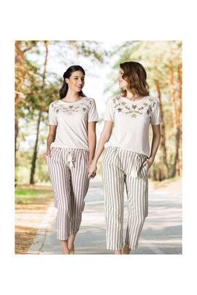 Poleren 6311 Altı Çizgili Yazlık Kadın Pijama Takımı-yeşil 0