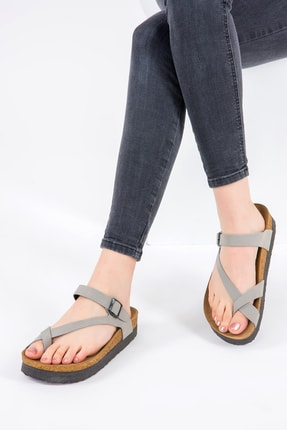Fox Shoes Gri Kadın Terlik B777753002 0