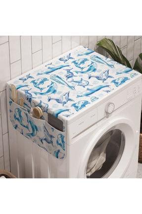 Rengirenk Hayvan Deseni Çamaşır Makinesi Düzenleyici Sevimli Yunuslar 0