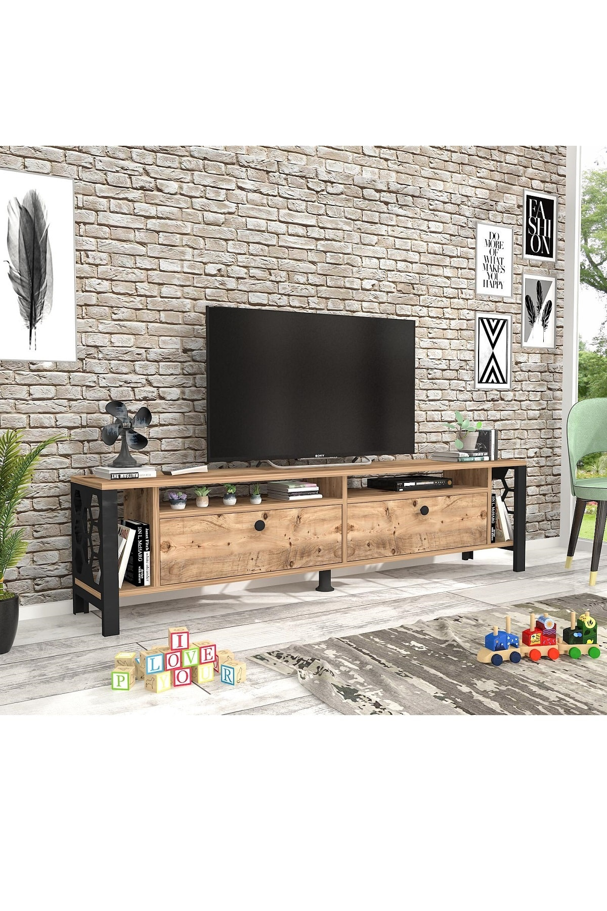 Wood N Love Luna 160 Cm Tv Unitesi Atlantik Cam Siyah Trendyol
