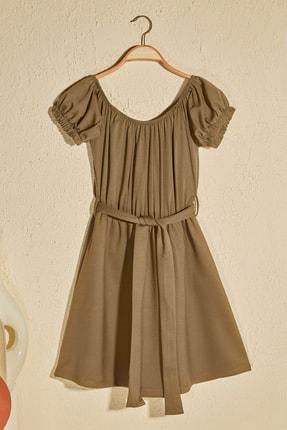 TRENDYOLMİLLA Haki Kuşak Detaylı Örme Elbise TWOSS20EL2764 0
